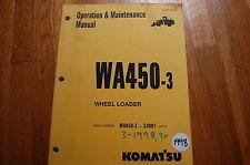 KOMATSU WA450-3 Wheel Loader Owner Operator Operation Maintenance Manual 1998