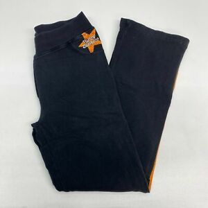 Harley-Davidson Track Pants Women's Medium Black Orange Pull On Cotton Blend