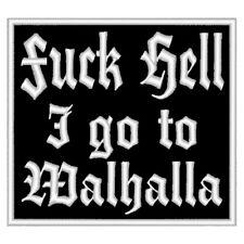 Aufnäher Fuck Hell I go to Walhalla  Odin Patch Wikinger Germane  10x9cm