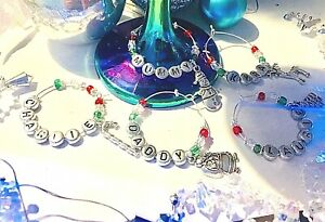 Christmas wine charm Champagne Prosecco Glass dinner table setting Stocking Gift