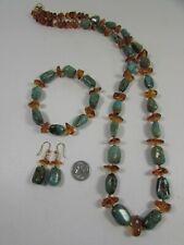 Lee Sands Genuine Amber & Turquoise NK BL ER set Made in Hawaii