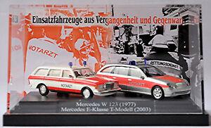 Mercedes Benz Notarzt Set Vergangenheit & Gegenwart Diorama PC-Vitrine 1:87