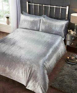 Tiffany Crushed Velvet Duvet Quilt Cover Luxury Silver Grey Bedding Set FREE P&P