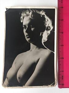 Original Vintage Nude Art Photo Blonde 1950's 1960's 6x4 Studio Pose B/W Glamour