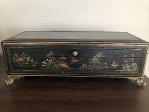Chinoiseries Faux Leather Decorative Footed Box