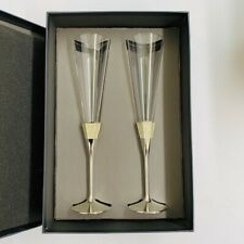 Set of 2 Waterford Lismore Diamond Wedding Bridal Toasting Champagne Flute Glass