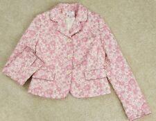 MS&Co Ann Taylor LOFT White Pink Floral Print Button Lined Women's Blazer Size 8