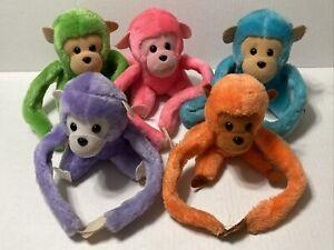 Dakin VTG Stuffed Plush Monkey Set Of 5 1982 Long Hanging Arms Sticky Hands