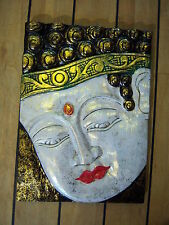 Hand Carved & Painted Wooden Thai Buddha Head Wall Hanging Picture - 40cm