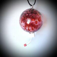 """Cranberry Red Handblown European Art Glass 4"""" Hummingbird Feeder w/7.5"""" Hanger"""
