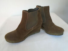 White Stuff Ankle Boots Size 6 (39) Brown Suede Pull on Wedge Heels 2.25""