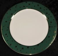 "Sakura Galaxy 10.5"" Dinner Plate - White with Green Rim & Gold Stars"