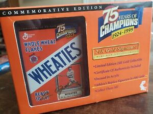 LOU GEHRIG 24K GOLD SIGNATURE WHEATIES BOX  - 75 YEARS OF CHAMPIONS - 1999 -NEW