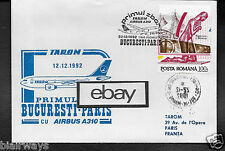 TAROM ROMANIA FIRST FLIGHT COVER BUCURESTI TO PARIS AIRBUS A310 12/12/92 & STAMP