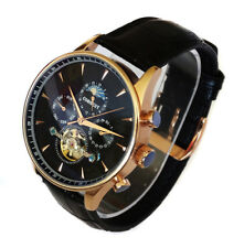 SUPERB Automatic Rose Gold Black 47mm Tourbillon Moon Phase Vintage Style Watch