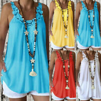 Women Sleeveless Hollow Tops Casual Loose Lace Vest Blouse T-Shirt Plus Size