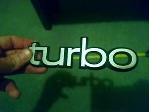 Vintage Saab 900 ' turbo ' Badge 1990  Large 16 x 5 cm Aluminium