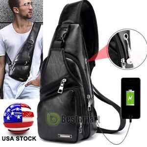 Men's Leather Chest Sling Day Pack Shoulder Bag Sport Travel Crossbody Backpack