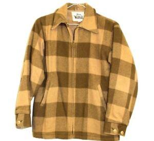VTG 1970s Mens S Woolrich Hunting Coat Jacket Full Zip Wool Brown Tan Plaid