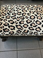 Antique Ottoman With New Silk Leopard Fabric 23x16x11 Inches.