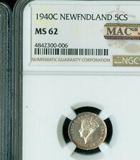 1940 C NEWFOUNDLAND 5 CENTS NGC MS-62 SEMI PL MAC SPOTLESS .