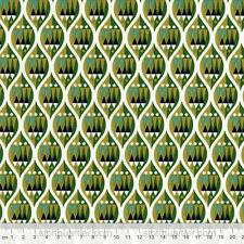 Stoff Wellen Ornamente grün Baumwollstoff Patchwork Makower Wrap it up