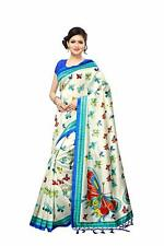 Indian White & Blue Saree Butterfly Printed Mysore Silk Fabric Women Sari Dress