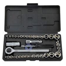 40Pc Socket Set With Case 1/4'' 3/8'' Dr Metric Af Sockets Ratchet Rolson 36109