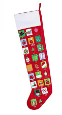 Advent Calendar Red Felt Jumbo Christmas Stocking 35 in L Dangling Candy Cane