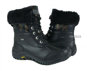UGG Adirondack II Exotic Velvet Black Leather Fur Boots Womens Size 11 *NIB*