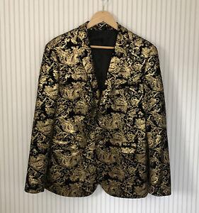Jogal Black & Gold Velvet Single Breasted Slim Fit Jacket Size 44 BNWT