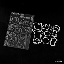 Cartoon Witch Metal Dies&Clear Stamps for DIY Scrapbooking Card Making Supplies