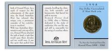 "1998 $1 Uncirculated Coin: ""Howard Florey."" - ""S"" Mintmark."