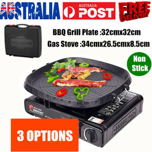 Portable Gas Stove Burner Butane BBQ Camping Gas Cooker With Non stick Plate NEW
