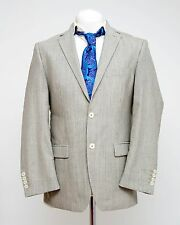 MENS BUGATTI BLAZER WOOL SUIT JACKET WHITE BLACK STRIPED FITTED 40 IN EXC