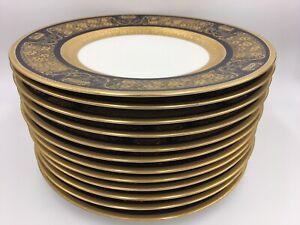 Set 12 Gilt Cobalt Dinner Plates Hutschenreuther Selb Royal Bavarian Antique