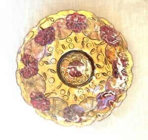 Antique Art Nouveau EAPG Goofus Glass Dish/Bowl/Plate -  Gold with Green & Red