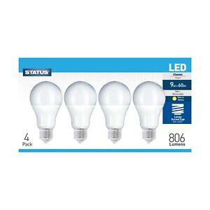 Status LED 9w = 60w,GLS Globe Bulb, Warm White, Non-Dimmable,E27 Screw, 4 Pack