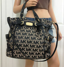 NEW-MICHAEL KORS GANSEVOORT BEIGE+BLACK LARGE NS TOTE TOP HANDLE HANDBAG