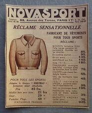 Publicité NOVASPORT vetements sport  1935  french advert