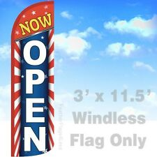 Now Open - Windless Swooper Feather Flag 3x11.5' Banner Sign - Starburst rq