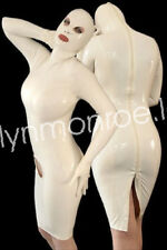 Pure Latex Rubber Pure White Skirt with Hood Zipper Suit Skirt Size XXS-XXL