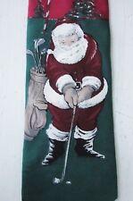 ZYLOS GEORGE MACHADO ITALIAN SILK NECK TIE Santa Claus Playing Golf Christmas