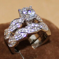 Women's 925 Sterling Silver White Sapphire Deluxe Wedding Ring Set Size 8 Gift
