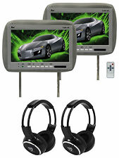 """Pair Of TView T110PL Gray Car Video 11.2"""" Headrest Monitors +2 Wireless Headsets"""