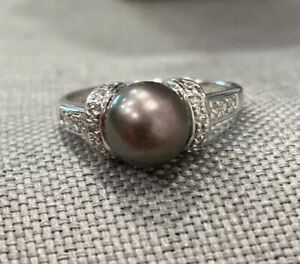 💯Sterling Silver Grey Pearl Ring Size 10💋