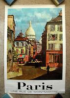 Vintage Original 1970s PARIS - FRANCE Travel Poster airline railway train art