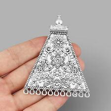 2Pcs Large Tribal Ethnic Antique Silver Bohemian Boho Connector Pendants Jewelry