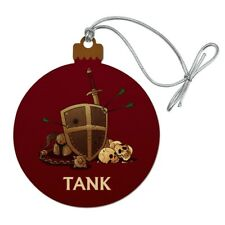 Tank Warrior RPG MMORPG Class Role Playing Game Wood Christmas Tree Ornament