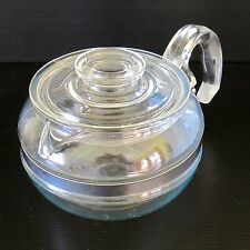Pyrex Vintage 1940s USA Original Blue Flame 6-Cup Teapot with Steel Band